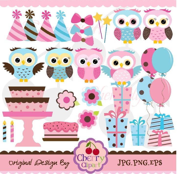 Owlet clipart pink and brown Blue Personal set images cute