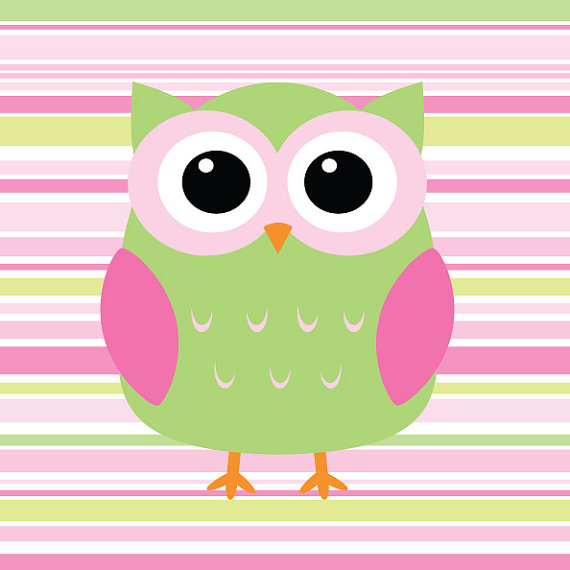 Owlet clipart pink and brown Green Etsy ljg23  Stripe