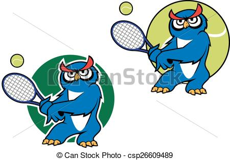 Owlet clipart sport Cartoon owl  mascot racket