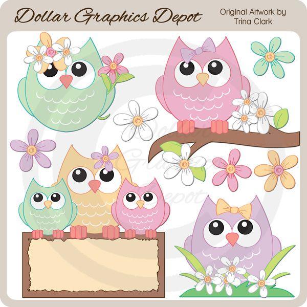 Outside clipart spring scene Clip pattern Owl art :