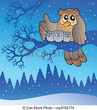 Owlet clipart winter In family EPS  winter