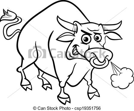 Bull clipart black and white Bull coloring Black of page