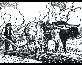 Ox clipart ploughing Digital Image Farm White Instant