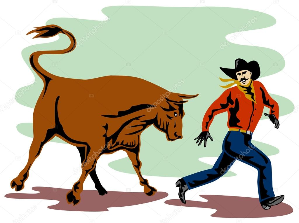Ox clipart raging bull Image — cowboy attacking patrimonio