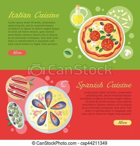 Paella clipart mexican culture Tapas Banner dry flat ham