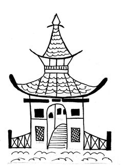 Pagoda clipart ancient china Barrymonster Blue Large Parisian BACKORDER