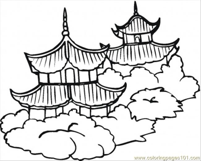 Pagoda clipart chinese architecture Coloring (Countries  Coloring China)