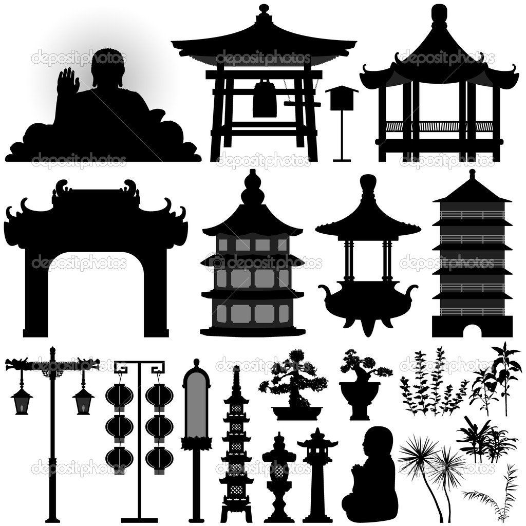 Pagoda clipart chinese culture Silhouette Asian Temple Relic ©