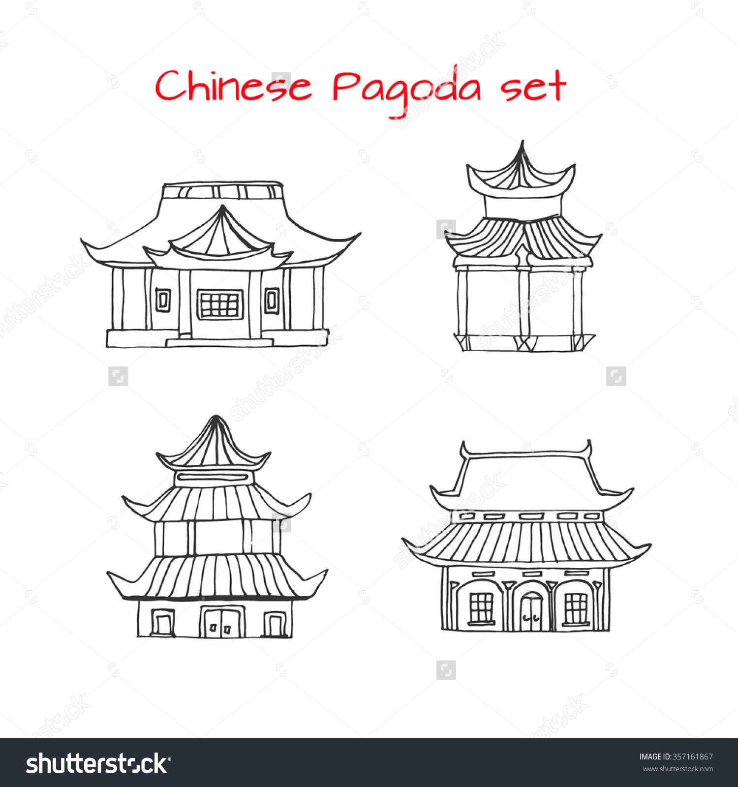 Pagoda clipart chinese house Chinese set Hand detached