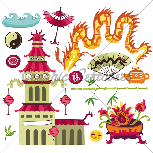 Pagoda clipart chinese house Set Set Dragon · Oriental