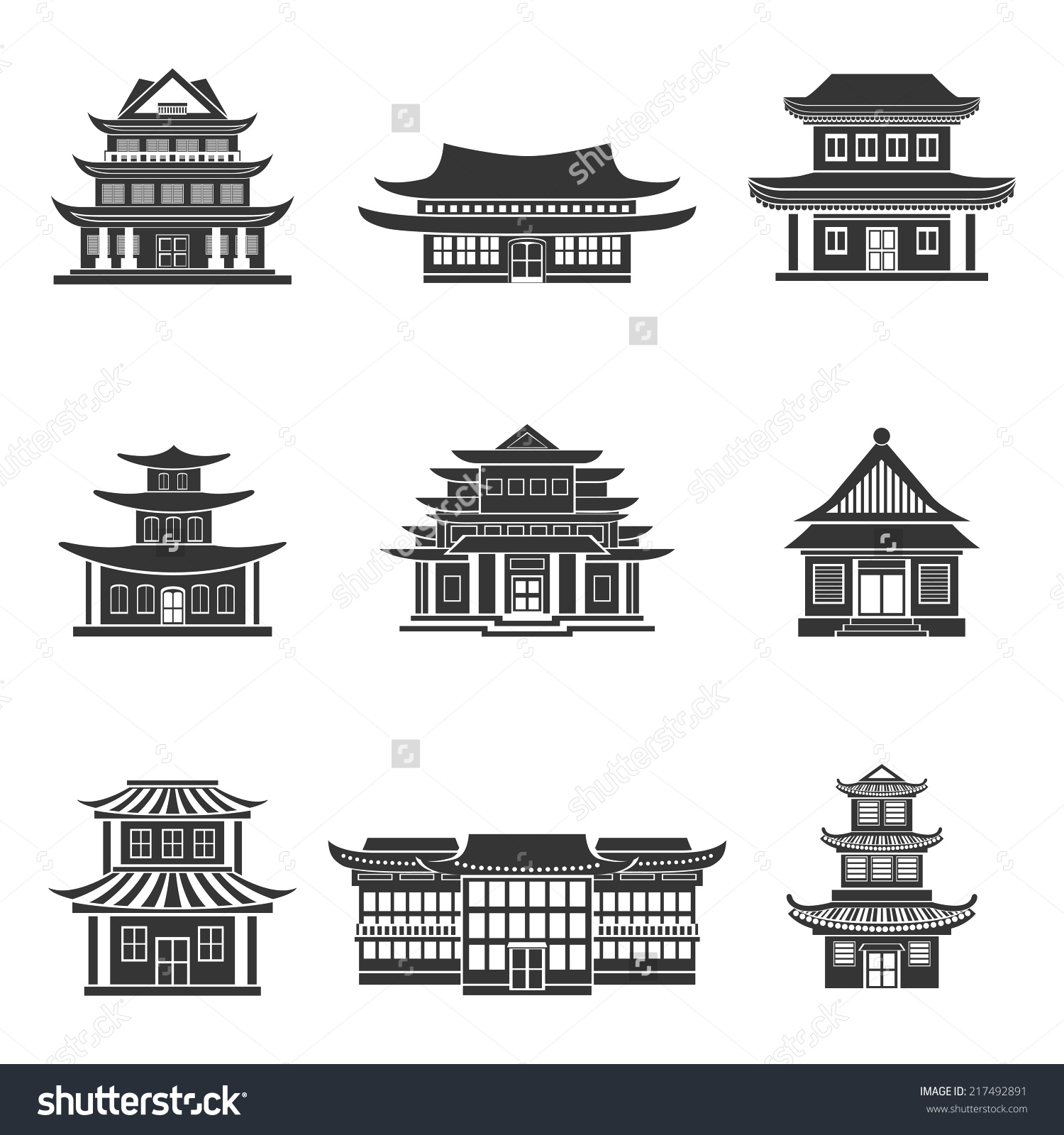Pagoda clipart chinese house Black temples Chinese oriental