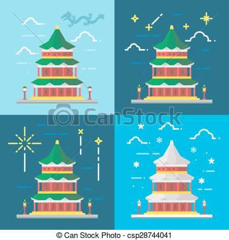 Pagoda clipart chinese palace Summer Flat Beijing of Vector