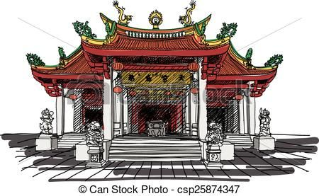 Asians clipart buddhist temple Royalty stock  stock line