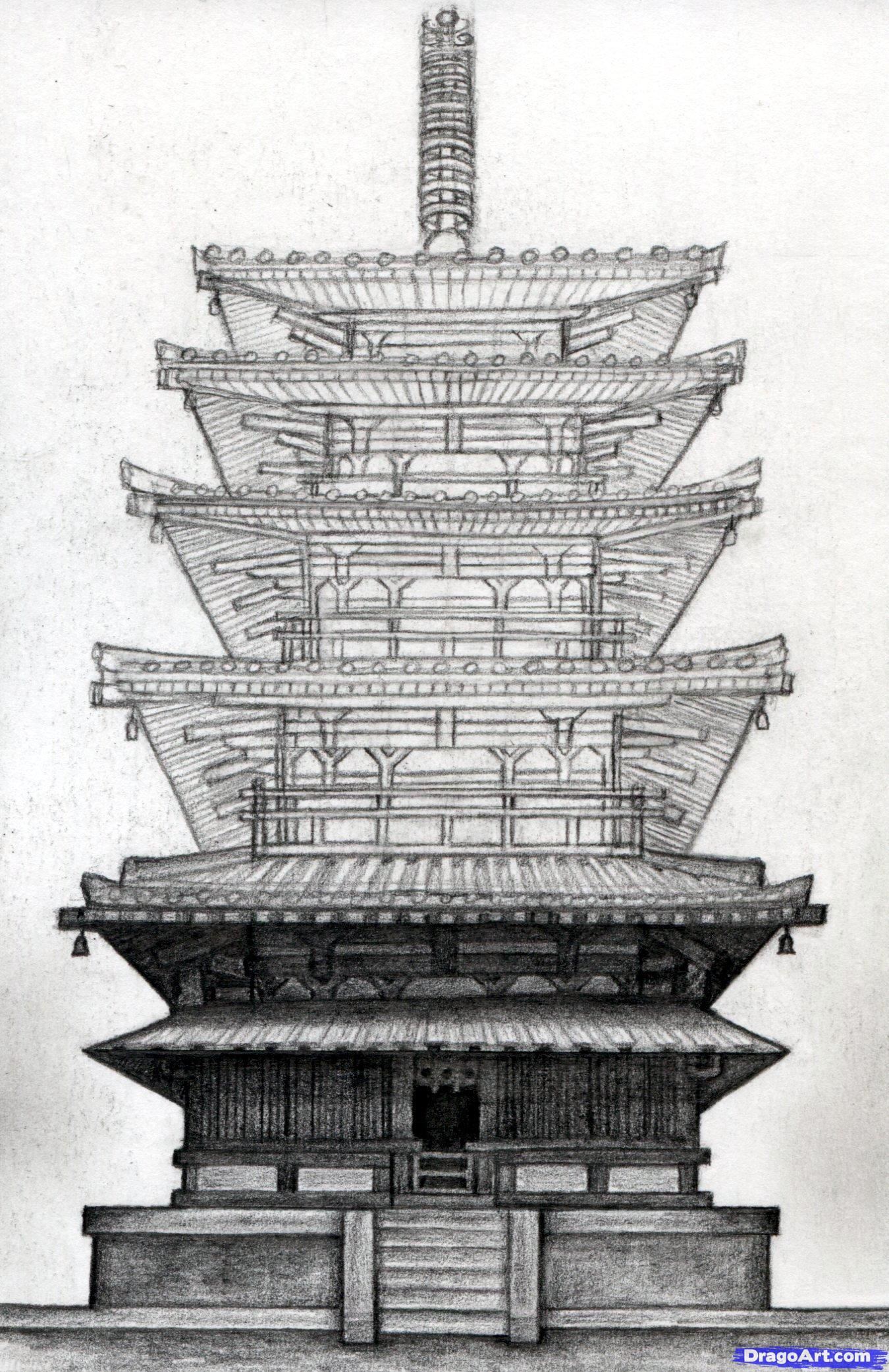 Drawn samurai temple Pagoda step terryconstant how ClipArt