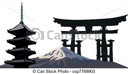 Pagoda clipart japan temple Illustration csp7768903 with Japanese Landmarks