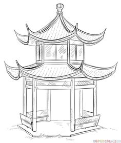 Pagoda clipart shrine Chinese silhouette how the to