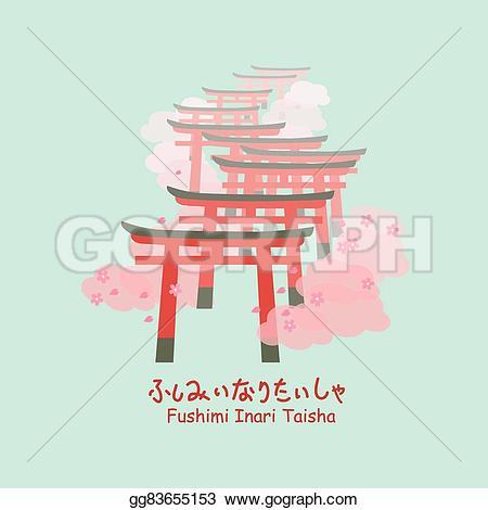 Pagoda clipart torii gate Below fushimi japan Illustration in