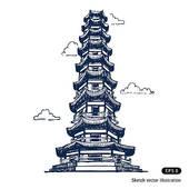 Pagoda clipart vihara Japanese Landmarks Clip pagoda Chinese