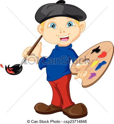 Paint clipart boy painting Paintbr EPS Boy  csp23714848