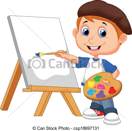 Artwork clipart boy painting  of painting painting csp18697131