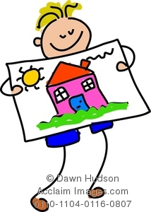 Artwork clipart boy painting Clipart Clipart #0807_happy_little_boy_holding_up_his_painting_house happy house