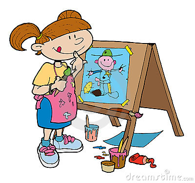 Artwork clipart boy painting Art Clipart cliparts Easel Girl
