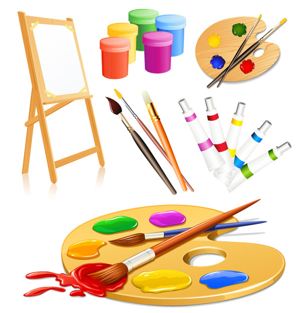 Brush clipart drawing material On Easel Art Clip Clip