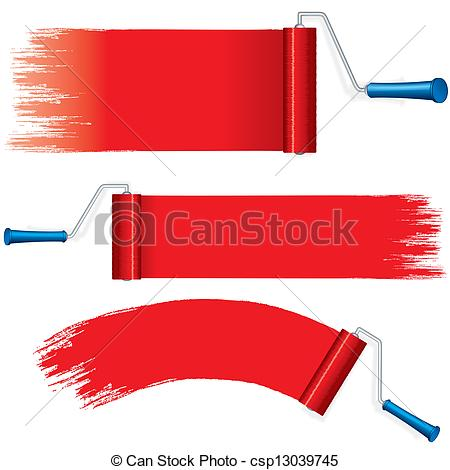 Brush clipart wall painting Vector  on Strokes Red