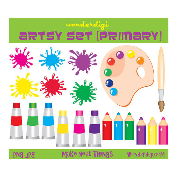 Painting clipart school thing Crafts Supplies Art Etsy Paint