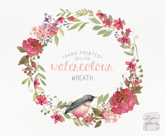 Paint clipart watercolor paint / floral wreath: commercial Wedding