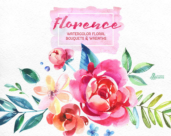 Paint clipart watercolor paint Watercolor painted Bouquets Bouquets floral