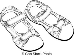 Sandal clipart black and white #1