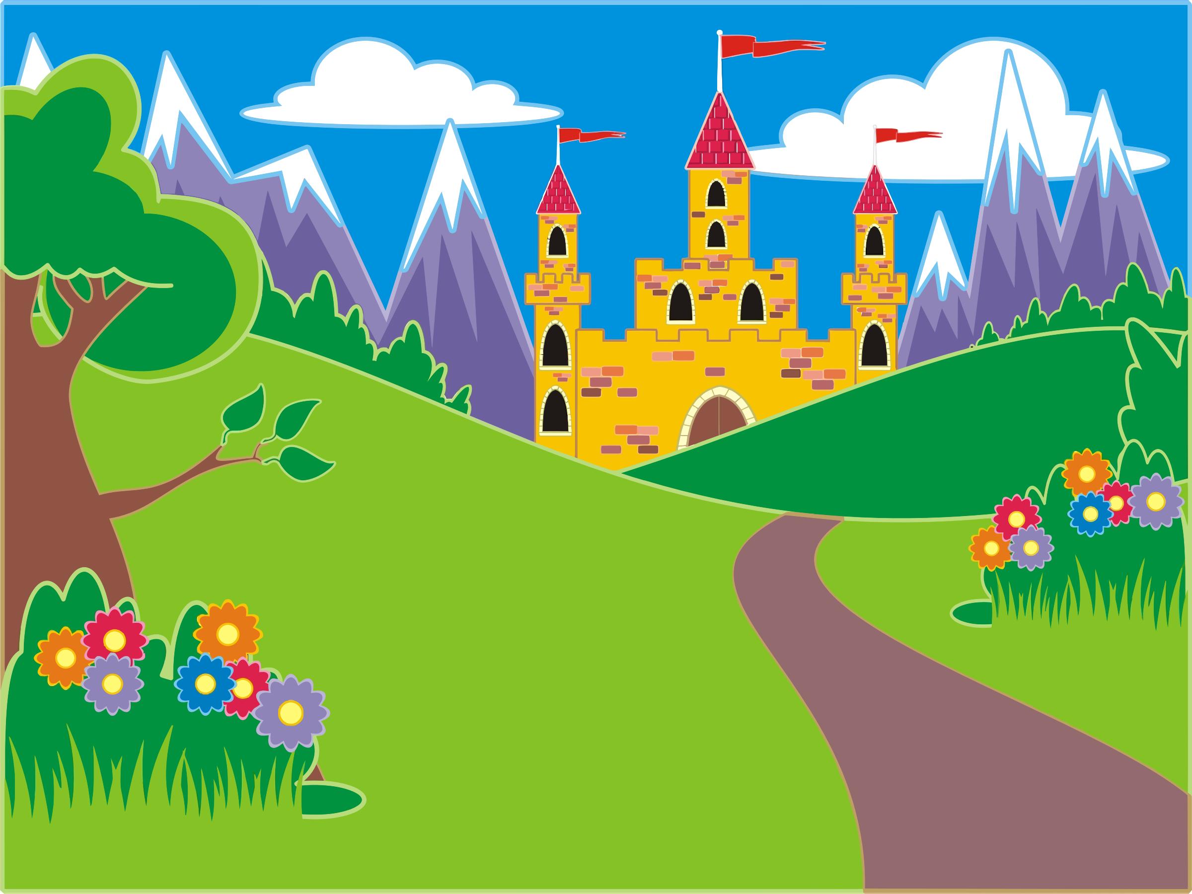 Clipart Fantasy Castle Landscape Fairytale