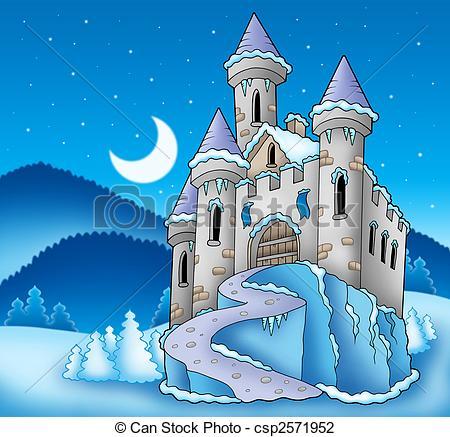 Castle clipart landscape Frozen winter color Art landscape
