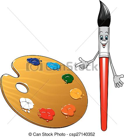 Palette clipart cartoon Character with palette Vector paintbrush