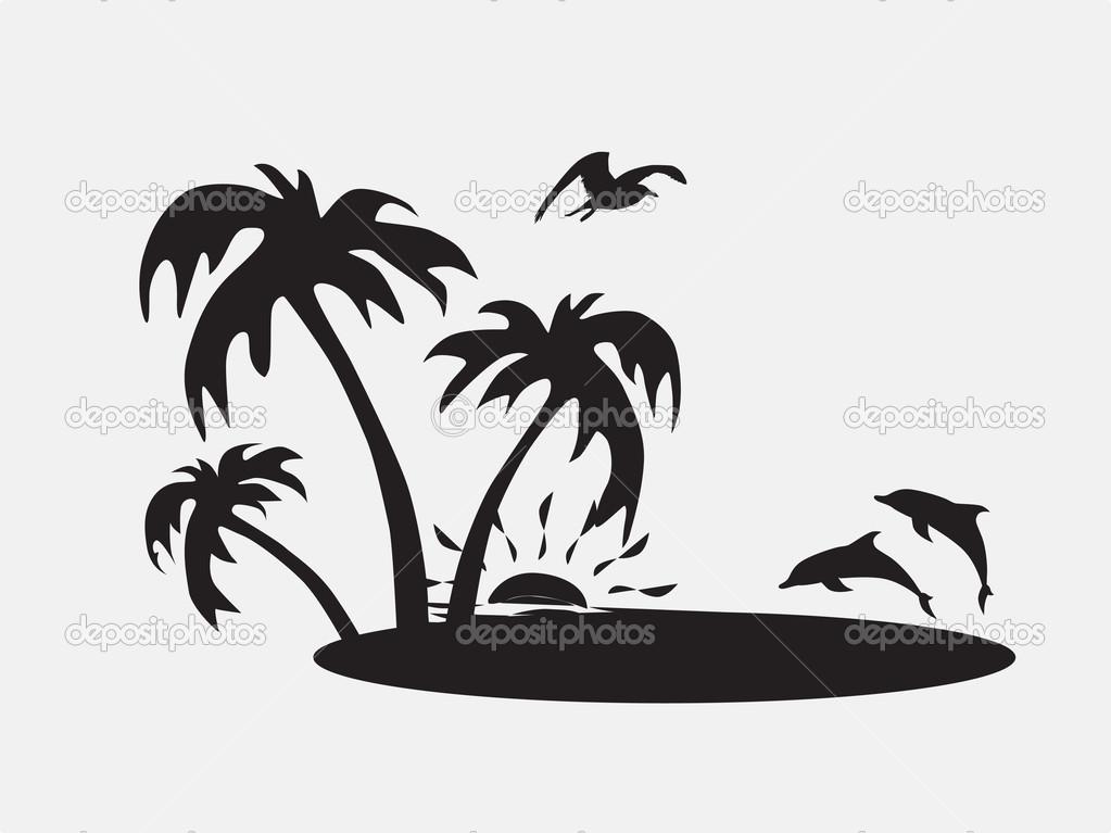 Palm Tree clipart beach theme Silhouette beach Google Beach stencils