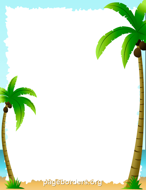 Palm Tree clipart beach theme Borders: Summer Border Page and