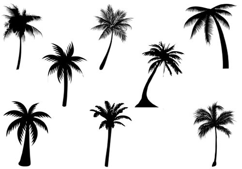 Palm Tree clipart curved Graphics Vector Tree silhouette Palm