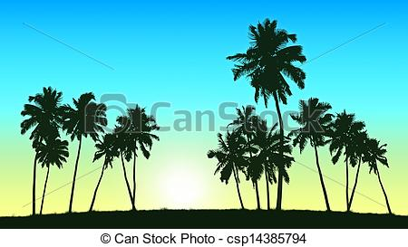 Palm Tree clipart group Illustration on Stock trees