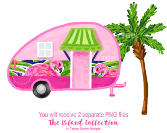 Camper clipart exploration Tree Glamping art tropical Preppy