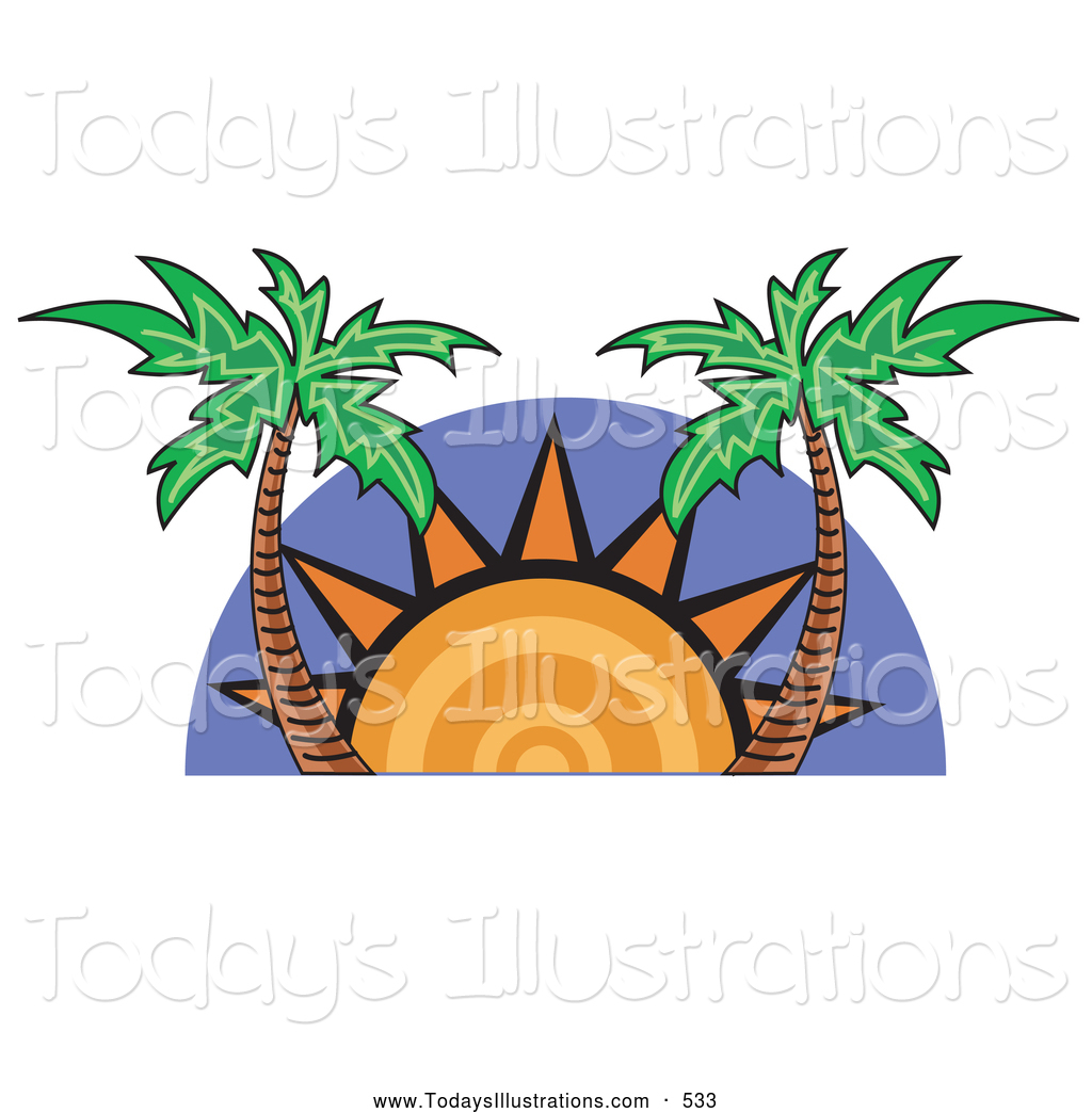 Palm Tree clipart setting sun Stock Tropical Palm New Setting
