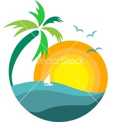 Palm Tree clipart setting sun  against vector palm the