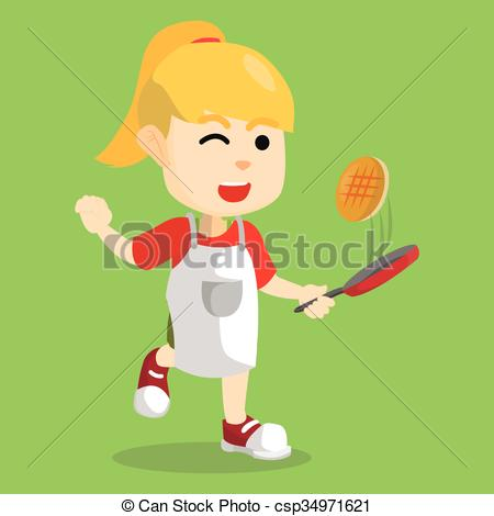 Pancake clipart cooking  csp34971621 Girl Illustration csp34971621
