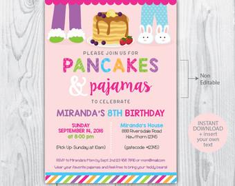 Pancake clipart pajamas And pancakes invitation Pancake invitation