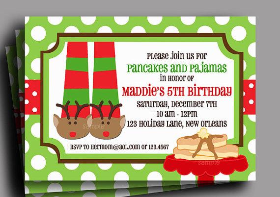Pancake clipart pajamas Christmas and  Invitation or
