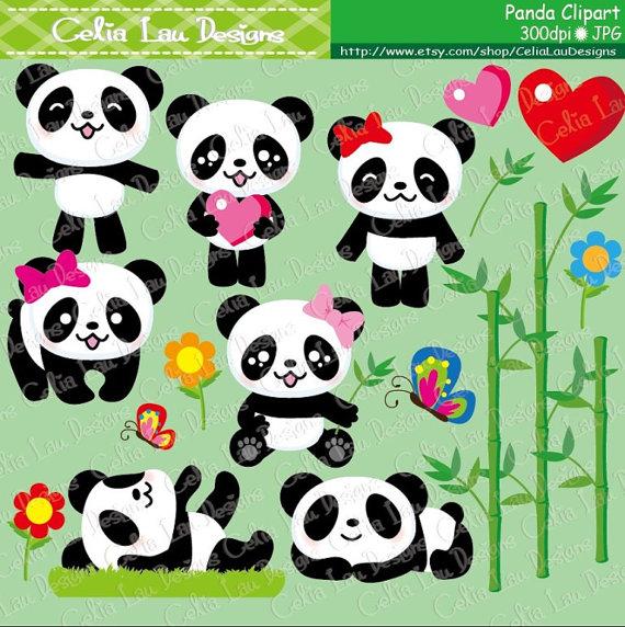 Card clipart baby panda Paper set Panda art clipart