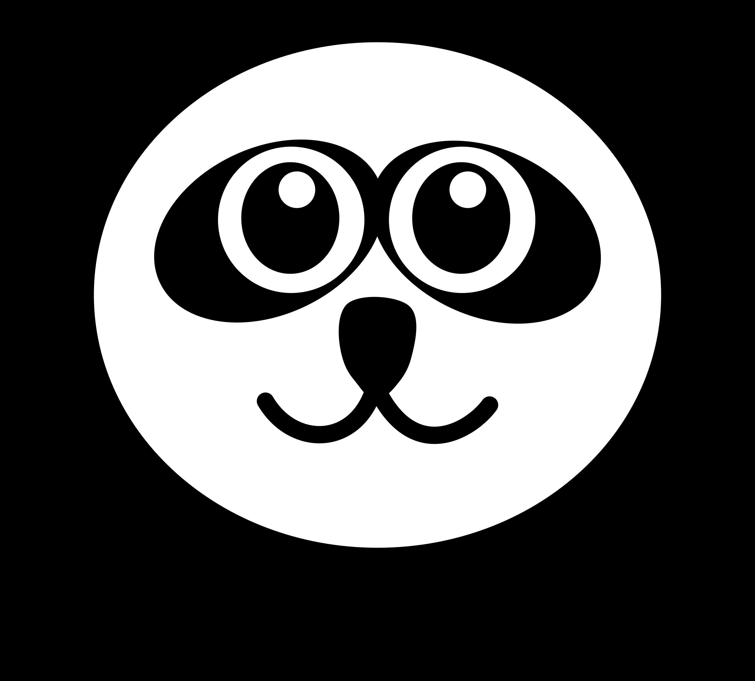 Panda clipart black and white Funny face black white panda