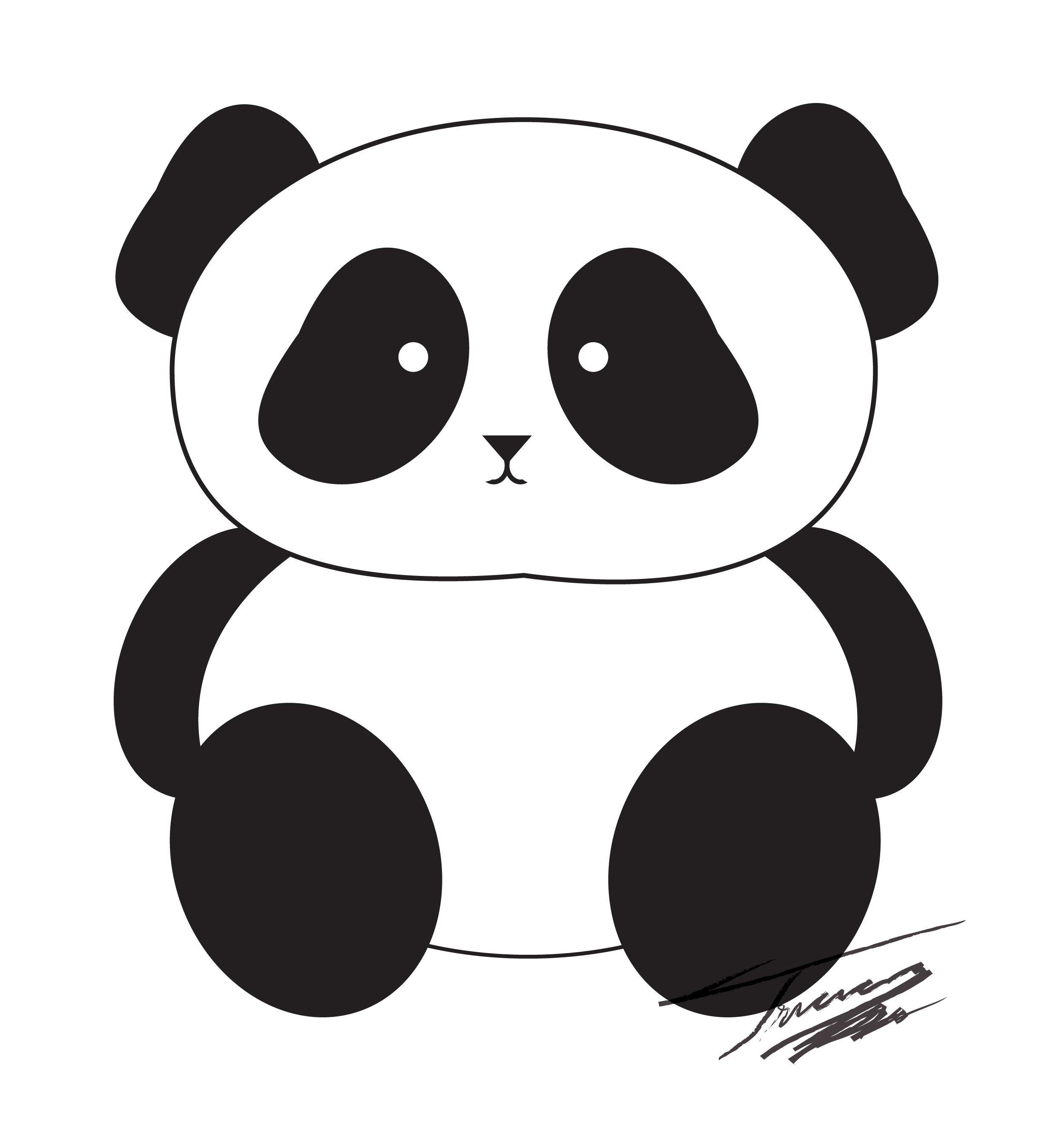 Panda clipart black and white Bears Cartoon cartoon Cute