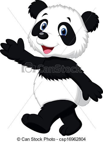 Panda clipart hand Of cartoon panda  waving