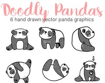 Panda clipart hand Clip Panda Drawn Etsy Panda
